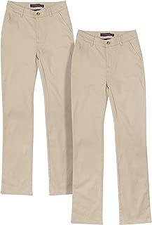 Junior Girls' School Uniform Stretch Straight Leg Twill Pants (2 Pack)