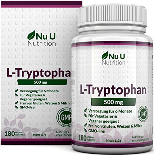 L-Tryptophan 500mg - 180 Tabletten (Versorgung für 6 Monate) - Frei von Allergenen - Vegetarisch und Vegan - Hergestellt in Großbritannien von Nu U Nutrition