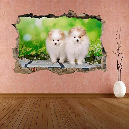 Pegatinas de pared Cachorro perro Animal 3D etiqueta de la pared Mural calcomanía cartel habitación de los niños CS17 cartel papel tapiz- 80×120cm