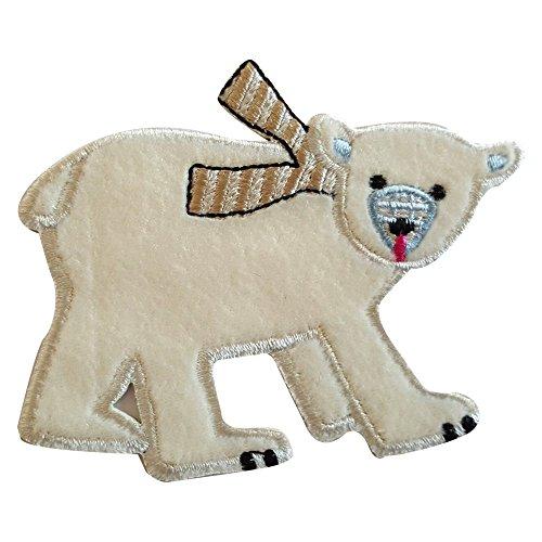 TrickyBoo 2 opstrijkbare ijsbeer 9 x 7 cm vlinder 10 x 7 cm set patch applicaties voor het repareren van kinderkleding met design Zürich Zwitserland voor Duitsland en Oostenrijk