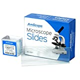 AmScope BS-50P-100S-22 Pre-Cleaned Blank Ground Edge Glass Microscope Slides and 100pc Pre...