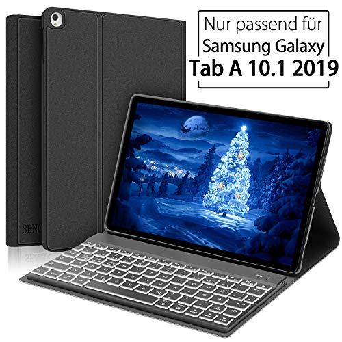 SENGBIRCH Samsung Galaxy Tab A 10.1 2019 Tastatur Hülle, Auto Schlaf/Aufwachen Hülle mit Beleuchteter Bluetooth Tastatur für Galaxy Tab a T510 & T515 - Schwarz
