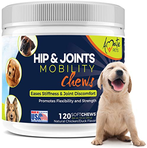 Dog Joint Supplement Chew with Glucosamine and Tumeric to Increase Flexibility, Mobility, Strength and Joints Comfort- Advanced Dogs Hip and Joint Supplement - 120 Soft Chews by Amate Pets