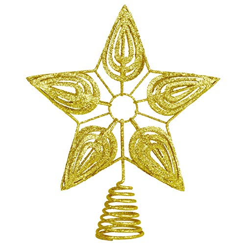 Aneco Metal Christmas Tree Topper Hollowed-Out Christmas Tree Top Glittering Star for Xmas Decoration(Gold)
