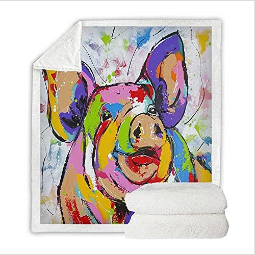Mantas de Felpa Lechón Animal de Color Suaves Y Esponjosas,