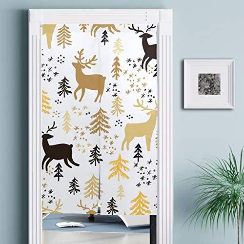 JISMUCI Vorhänge für Türen,Hand gezeichnete Weihnachten Nahtlose Musterhirsche,Türvorhang Für die Küche Wohnzimmer Schlafzimmer