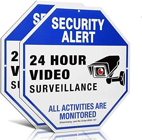 Sheenwang 2 Pack Security Camera Sign Video Surveillance Signs Outdoor UV Printed 40 Mil Rust product image