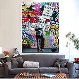 PLjVU Graffiti Callejero Impreso El Amor es la Respuesta Pintura de Lienzo con un Cartel póster Pop Art Wall Picture Decoration-Sin marco40x50cm