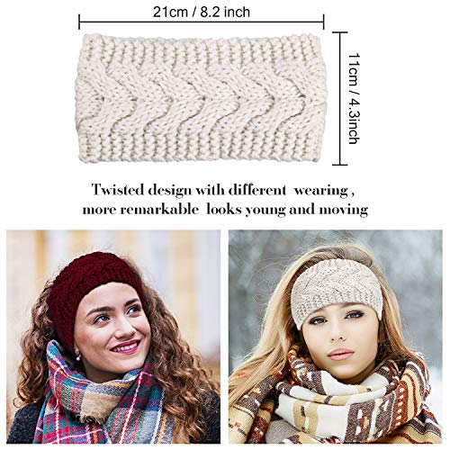 3 or 6 Pieces Headband Women's Cable Knitted Hairband Winter Chunky Ear Warmer (Black, Red and Beige, 3 Pieces)