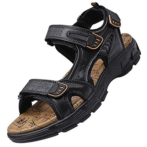 Zapatos de pescador, sandalias de cuero abiertas, para senderismo, para exteriores, para playa, playa,, Negro, 38.5 EU