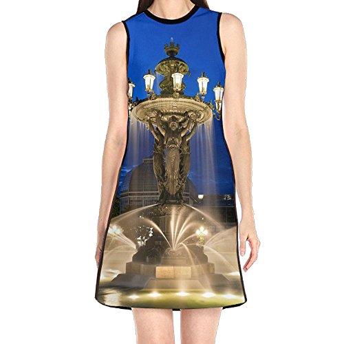 MONILO Fountain Water Night Women's Sexy Sleeveless Mini Dress Print Party Dress Tank Dress