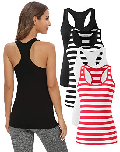 Star Vibe Racerback Workout Tank Tops for Women Basic Athletic Tanks Yoga Shirt Sleeveless Exercise Tops 4 Pack Black/Black Striped/White/Red Striped XL