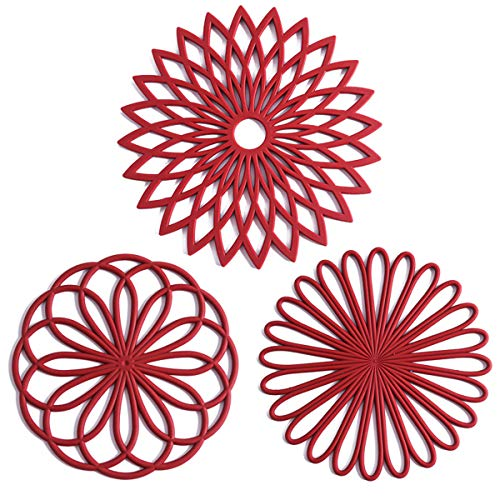 Product Image 1: Set of 3 Silicone Trivet Mat – Hot Pot Holder Hot Pads for Table & Countertop – Trivet for Hot Dishes – Non-Slip & Heat Resistant Modern Kitchen Hot Pads for Pots & Pans,Merlot Red