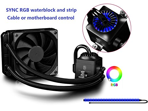 DEEPCOOL Liquid CPU Cooler Captain 120EX RGB, Synchronous RGB Waterblock and LED Strip Controlled by Cable Controller or Motherboard Software, 120mm PWM Fan, AM4 Compatible, 3-Year Warranty