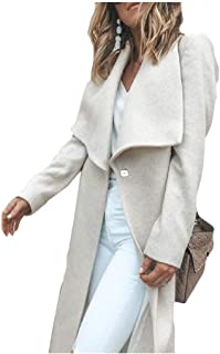 Howely Womens Woolen Skinny Belt Open Front Coat Jacket Parka Jacket