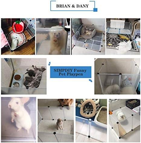 Brian & Dany Parc pour Enclos Lapin Interieur, Stylo Clôture Modulable Portable en Plastique pour Lapin, Hamster, Chiot, Cochon, 12 Panneaux, 203 x 101 x 71 cm, Fumée