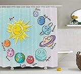 geckor Bad Duschvorhänge Bad Vorhang Raum Niedlichen Cartoon Sonne & Planeten des Sonnensystems für Kreatives Zuhause Dekorative mit Haken 72x72 In