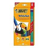 bic kids evolution ecolutions matite colorate in resina senza legno confezione da 12 matite colori assortiti