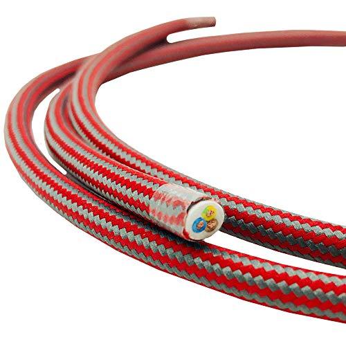 3 Meter Textilkabel Rot Grau gestreift 3-adrig 0,75qmm Stoffkabel für Pendel- und Hängeleuchten Stromkabel mit Stoff Lampenkabel