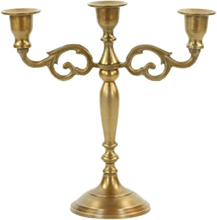 Koyal Wholesale 3 Arm Metal Candelabra Candle Holder Centerpiece (Vintage Brass)