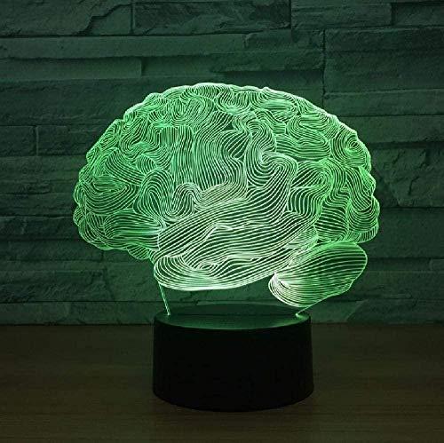 Luz de noche 3D para con lámpara de decoración con Brain USB novedad luz 3D lámpara de ilusión óptica 7 colores cambiante táctil mesa luz hogar oficina decoración regalo de cumpleaños para niños