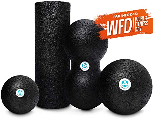 #DoYourFitness 4er Faszien Set bestehend aus Mini Faszienrolle + Duoball + 2X Faszienball Kugel - Faszien Training von Muskeln, Bindegewebe & Stoffwechsel