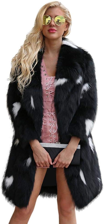 IBelly Women's Coat Faux Fur Women's Faux Fur Coat Winter Long Sleeves Warm Jacket