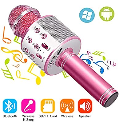 Wireless Bluetooth Karaoke Microphone Machine,Portable Handheld Karaoke Bluetooth Handheld Karaoke Speaker Player Machine for Kids Adults Girl Boy Home KTV Party for Android/Iphone/Ipad/Pc (Pink)