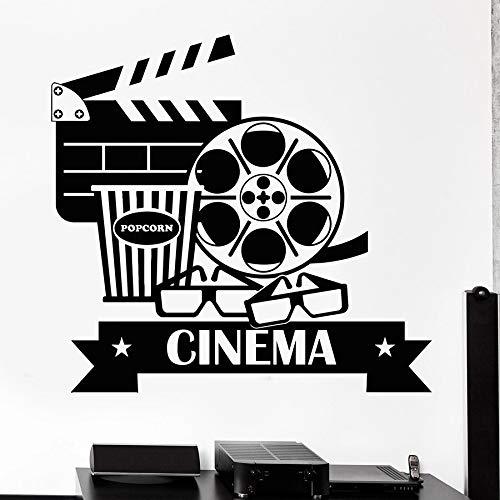 Calcomanías de pared de cine Cine palomitas de maíz fotografía decoración de interiores vinilo pegatinas para puertas y ventanas gafas arte murales creativos