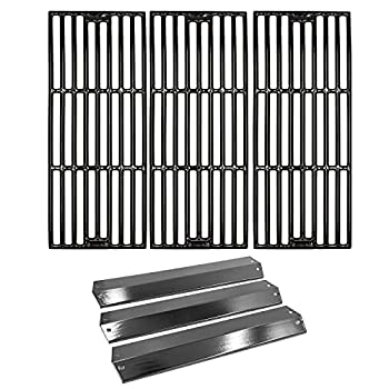 Hongso Repair Kit Porcelain Coated Cast Iron Grill Grates and Porcelain Steel Heat Plates Replacement for Char Griller Models 5050 3001 5650 5072 3030 4208 4000 3008 King Griller 3008 5252 Gas Grills