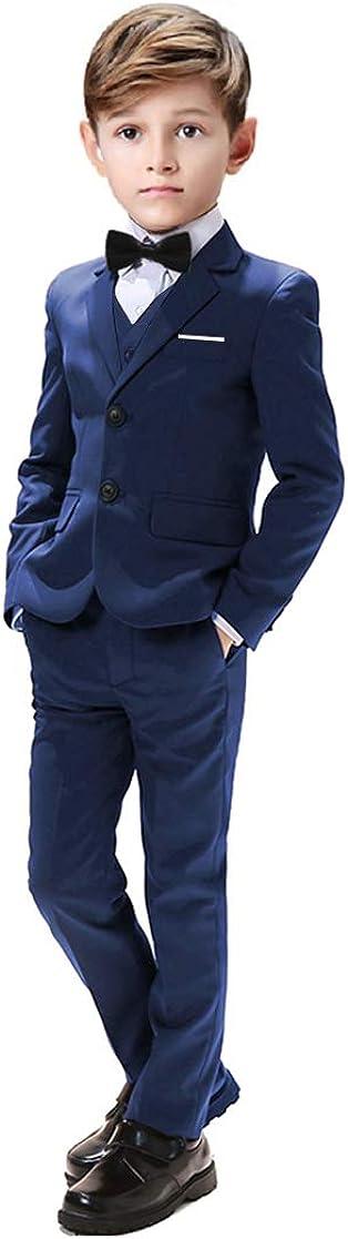 Gent M Boys Suits 5 Pieces Slim Fit Blazer Pants Black Blue Outfit Suit for Wedding