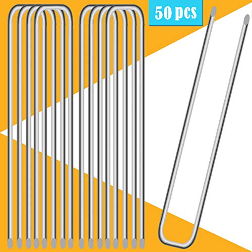 "UPlama 50PCS Garden Anti-Rust Galvanized Ground Staples Landscape Sod Stakes, 12"" Garden Stakes/Spikes/Pins/Pegs, Anchor Pins U-Shaped Garden Securing Pegs for Anchoring Tents Landscape Fabric."