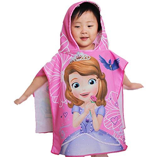 Kinder Kinder Kapuze Badetuch Umhang Strandtuch Decke Bademantel Kapuze Handtuch Duschtuch Mickey Minnie Sofia gefroren-Sofia_50x100cm
