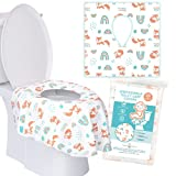 Toilet Seat Covers Disposable - 20 Pack XL - Disposable Seat Covers, Toddlers, Kids Toilet Seat Covers for Road Trips, Potty Training, Public Toilet, Waterproof, for Kids and Adult (20 Fox + Rainbow)