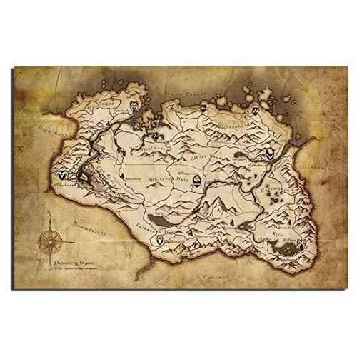 Gopfl The Elder Scrolls V Skyrim Karte Spiel Poster Wandkunst Poster Leinwandmalerei Home Decor Bilder Drucken auf Leinwand -20X28 Zoll No Frame 1 PCS