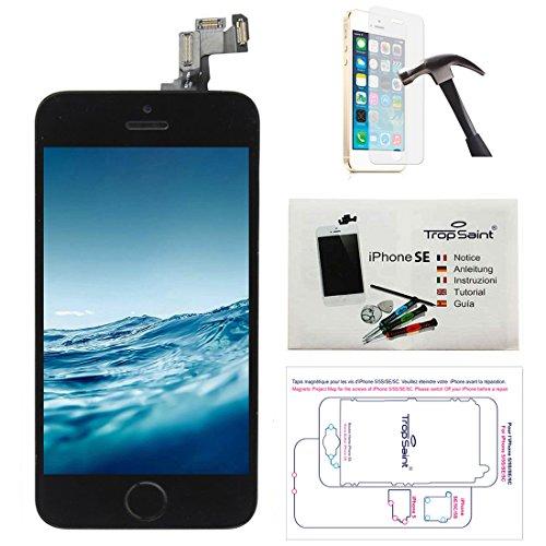 Trop Saint® Écran pour iPhone Se (2016) Noir - LCD Complet - Kit de Réparation Premium avec Notice en 5 Langues, Outils, Tapis de Repérage Magnetique et Verre Trempé.
