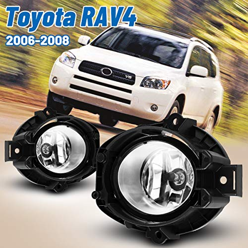 AUTOWIKI Pair of Clear Lens Bumper Clear Lens Driving Fog Lights Lamps Replacement for 2006-2008 Toyota RAV4 with Bulbs- H11 12V 55W (w/Switch and wiring kit)