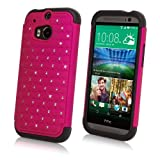 HTC One (M8 2014) Case, BoxWave [SparkleShimmer Case] Sparkly Rhinestone Cover w/Shock Absorbing Bumper for HTC One (M8 2014) - Cosmo Pink