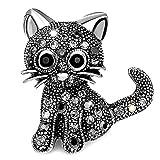 Gleamart Chat Broche Rétro Cristal Animal Broche pour Fille Femmes Noir