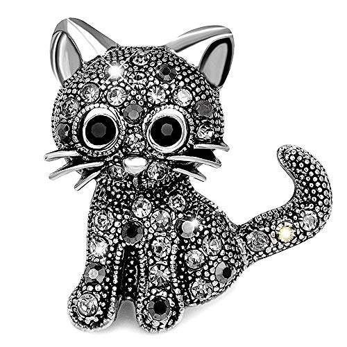 Gleamart Broche de gato con forma de animal de cristal retro para niñas y mujeres negro