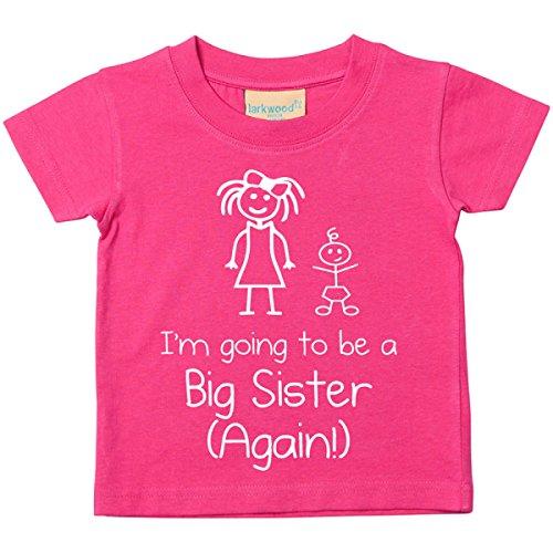 60 Second Makeover Limited I'm Vais être BIG Sister Again Rose T-Shirt Bébé Tout-Petit Enfants Disponible en Tailles 0-6 Mois pour 14-15 Ans Nouveau bébé Sœur Cadeau - Rose, 7-8 Ans