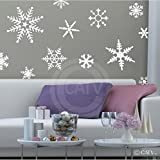 Wall Sayings Vinyl Lettering Large Snowflakes Set of 12 Decal Home Decor Art Quote Sticker (White)