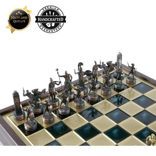 Ubergames Schachspiel - Griechisch Roman Armee Schach Metall - Patina Grünes Gold