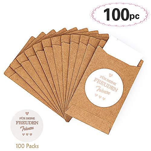 Sinoest 100 Freudentränen Geschenktüten & Sticker Taschentuch für die Freudentränen Taschentücher Hochzeitstaschentücher für Vintage Hochzeit Mitgebsel Schmuck umweltfreundlich