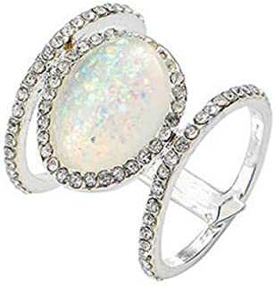 HYLJZ Anello Rainbow Opal Rings for Women 3 Colors Oval Moonstone Ring Female Wedding Engagementjewelry Gift Size 6-10