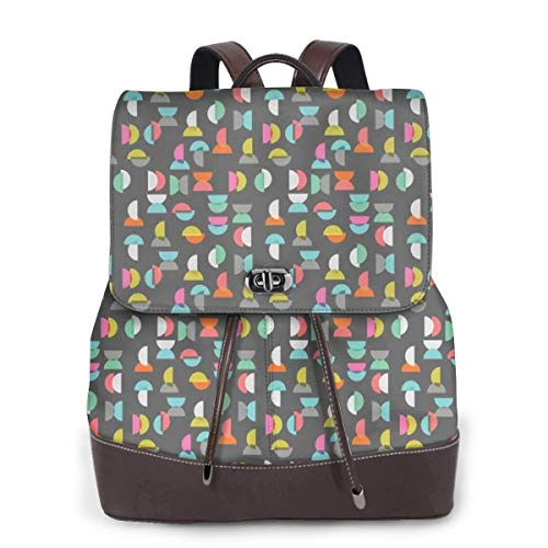 Women's Leather Backpack,Half Circle Geometric Forms with Trippy Figures Contemporary Fashion Art Deco,School Travel Girls Ladies Rucksack