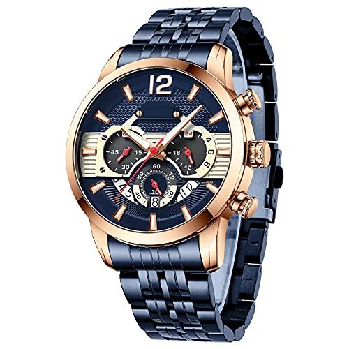 QIAI Reloj De Cuarzo De Negocios para Hombre, Reloj De Moda con Banda De Acero, Cronógrafo Multifunción, Calendario, Reloj Deportivo(Color:B)