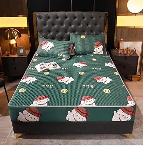 Lenzuolo estivo Materassino in seta di ghiaccio Morbido e confortevole materasso in lattice Materassino traspirante per un sonno confortevole King Queen Double Single Size-T_200x220cm+30cm(3pcs)