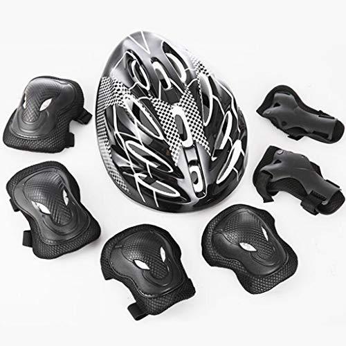 WXL Casque de protection pour adulte, ensemble de 7 casques de vélo, casque de protection, tête de taureau, équipement de protection, tête de taureau, ensemble pour adulte WXLV (Couleur : Noir)
