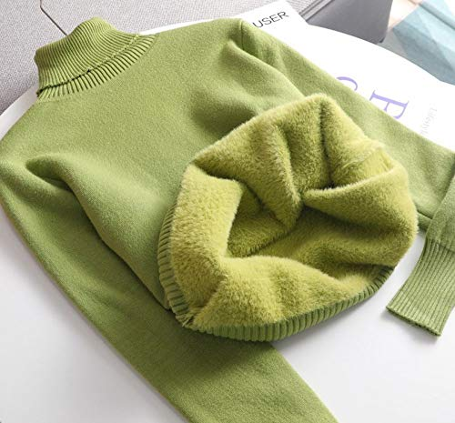 QPRER Herbst Und Winter Damen Kaschmir Basic Warm Sweater Plus Fleece Pullover Dicker Rollkragenpullover Gestrickter Pullover Top Grün